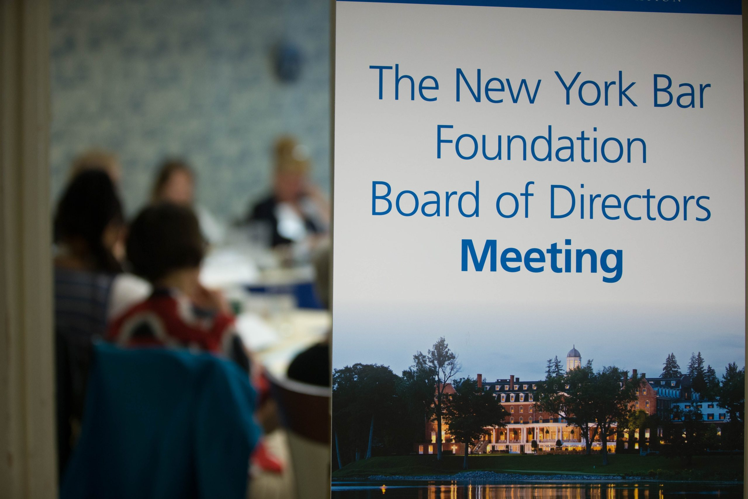 The New York Bar Foundation Board of Directors Meeting sign