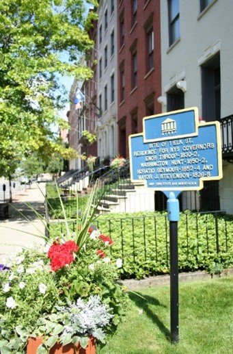 New York State Historical Site sign located in front of NYSBA Headquarters at 1 Elk Street, Albany New York